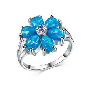 925 Silver Ring Blue Fire Opal New
